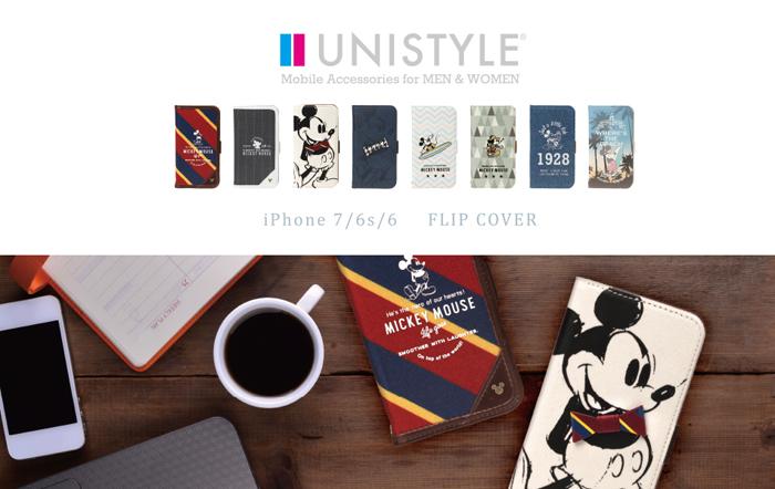 ミッキーのモチーフ柄デザインのiPhone 7用手帳型ケースが登場!