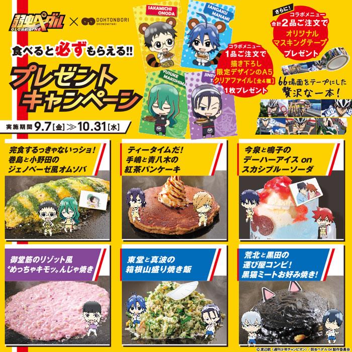 「弱虫ペダル GLORY LINE×道とん堀」9月7日よりスタート!