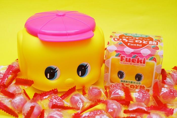 ピンク帽子のフエキくんが誕生!「いちごのど飴」「明太子ふりかけ」福岡限定で発売