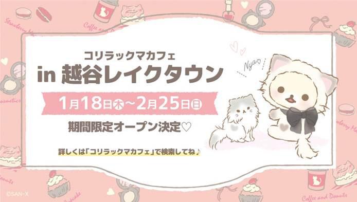 「コリラックマキャット」テーマのコラボカフェが埼玉・越谷レイクタウンにてオープン決定!!
