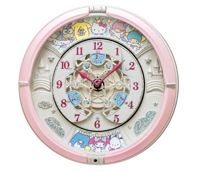 サンリオの人気キャラが文字盤に大集合!キュートなからくり時計が登場